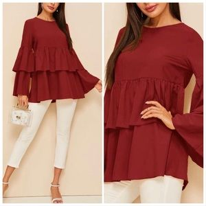 😍FLASH SALE‼️BURGUNDY LAYER SLEEVES- top